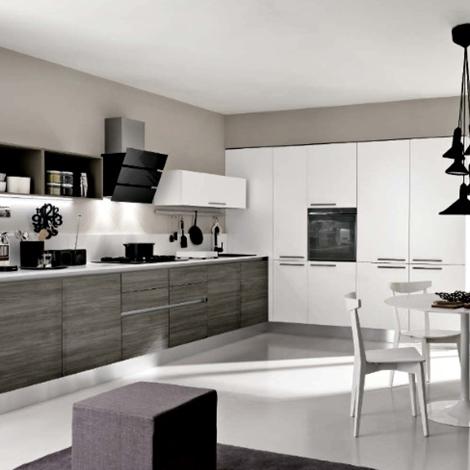 Cucina angolare max lineare essenza grigia moderna con for Cucina lineare offerta