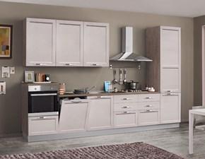 cucina  anta telaio legno lineare offerta con colonna frigo congelatore