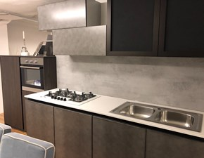 Cucina antracite design lineare Cemento  Arredo3 in Offerta Outlet