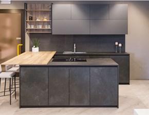 Cucina antracite moderna ad isola Time alluminio Gentili cucine in Offerta Outlet