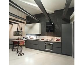 Cucina antracite moderna con penisola Evolution Scavolini