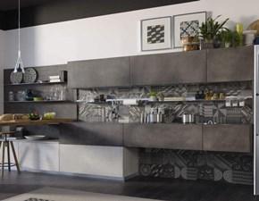 Cucina antracite moderna con penisola Ocean  grey moderna  in Offerta Outlet