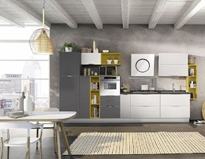 Cucina antracite moderna lineare Cucina mod.futura con maniglie a onda scontata del 40% Ala cucine in Offerta Outlet