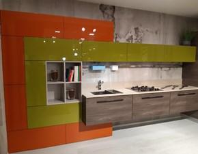 Cucina Ar-due design ad angolo altri colori in laminato lucido Cedro-timo