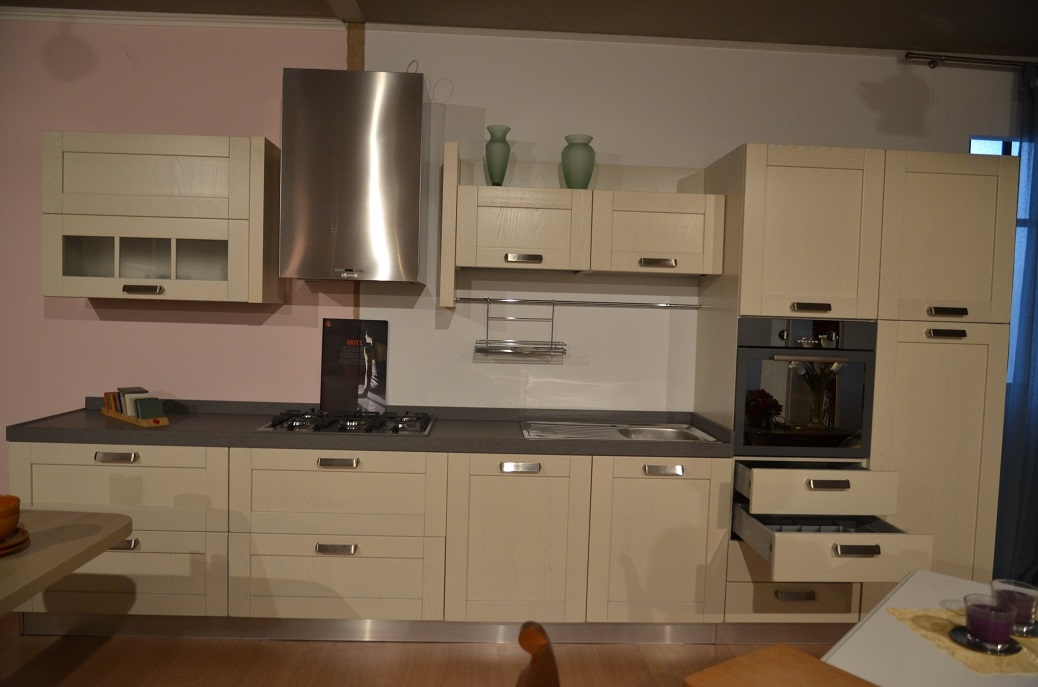 Cucina lineare con piano in agglomerato okite h 6 - Piano cucina okite prezzi ...