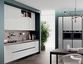 Cucina Ar-tre moderna lineare bianca in laminato lucido Domino