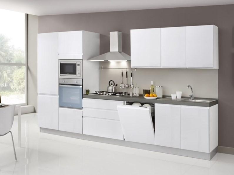 Cucina Ar-tre moderna lineare bianca in laminato materico Flo\'
