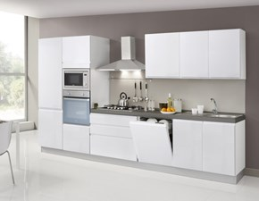 Cucina Ar-tre moderna lineare bianca in laminato materico Flo'