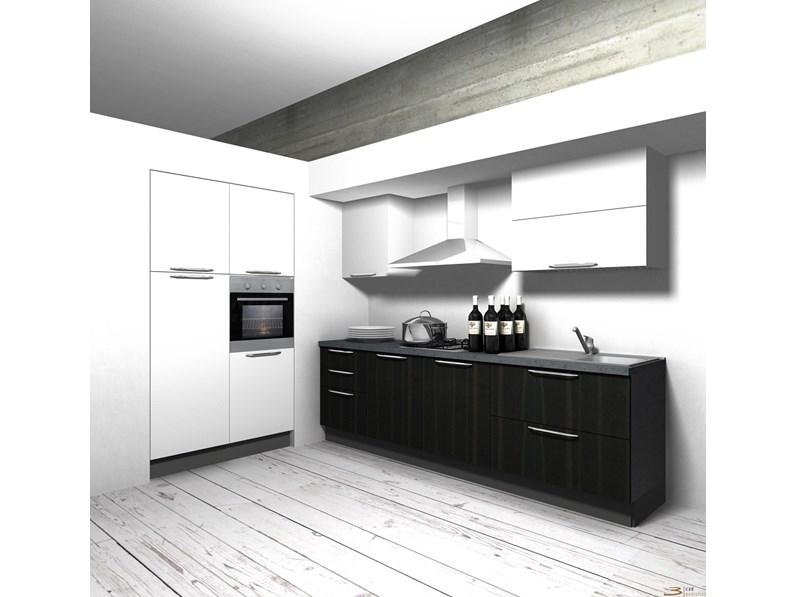 Cucina Aran Cucine Moderna Lineare Bianca In Polimerico Lucido Cucina Componibile Mod Eva In Polimerico Bianco