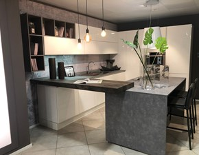 Cucina Aran moderna ad isola bianca in laccato lucido Erika