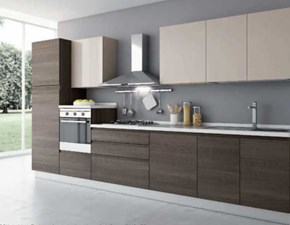 Cucina Aran moderna lineare rovere moro in legno Grace