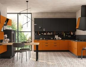 Cucina arancio moderna ad angolo Componibile Colombini in Offerta Outlet
