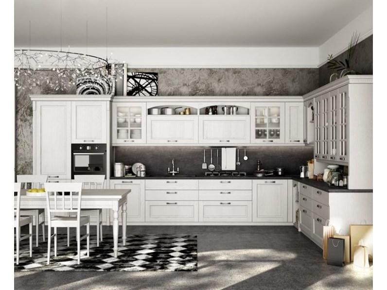 Cucina arredo3 country ad angolo bianca in legno virginia - Cucina country bianca ...