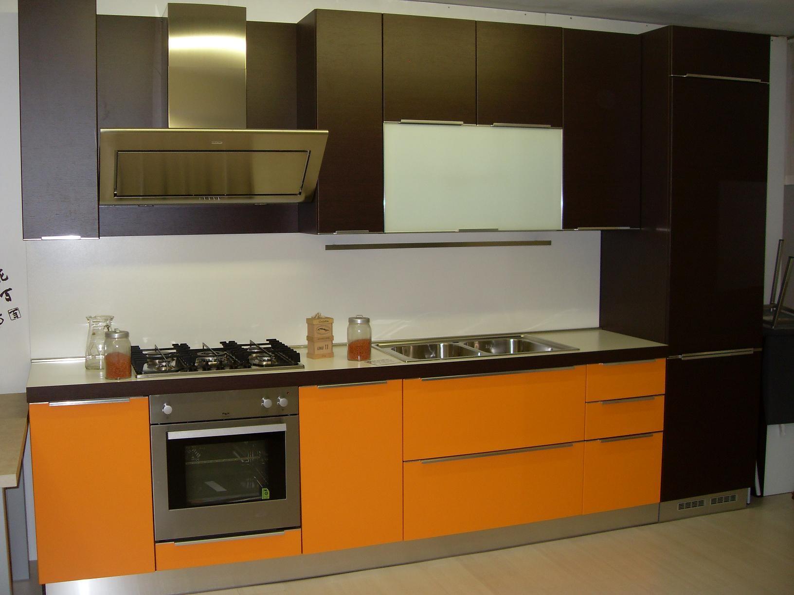 Cucina Arredo3 Diva Moderna Laminato Opaco Arancio - Cucine a prezzi scontati