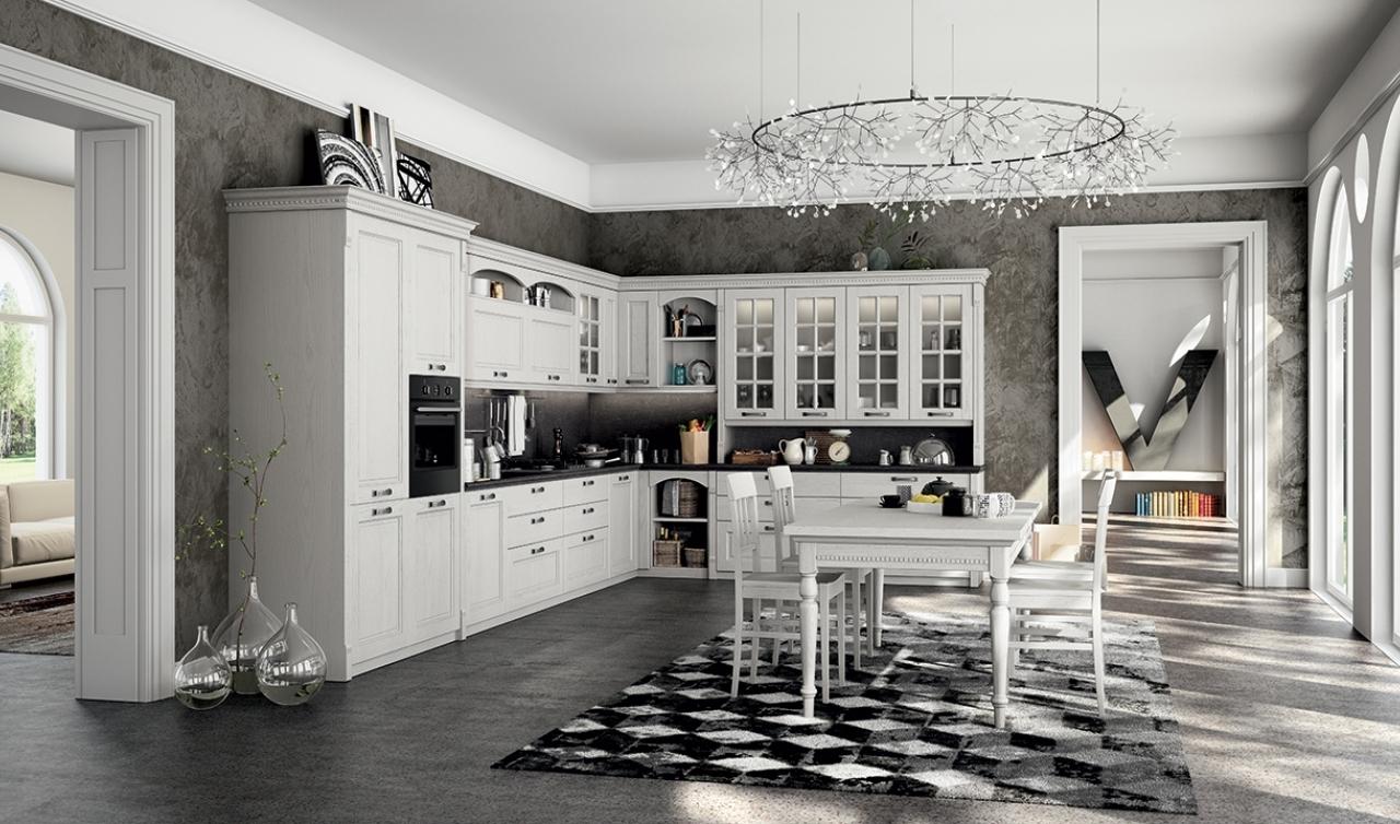 Cucina arredo3 virginia country laccato bianco scontato - Arredo cucina classica ...