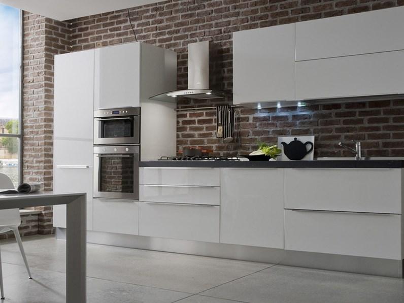 Cucina Moderna Bianca Laccata.Cucina Arrex 2 Moderna Lineare Bianca In Laccato Lucido Easy 2