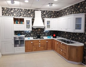 Cucina Arrex classica ad angolo bianca in legno Carola rovere