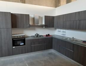 Cucina Arrex moderna ad angolo grigio in laminato materico Melissa