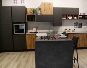 Cucina Artigianale design con penisola grigio in laminato materico Polimerico 22