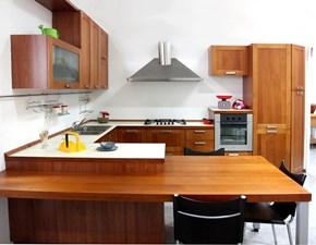 Cucina Artigianale moderna con penisola ciliegio in laminato opaco U812 crono 7