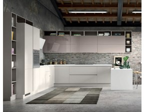 Cucina Artigianale moderna con penisola grigio in polimerico lucido Arizona