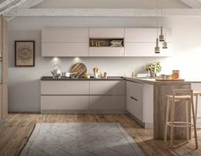Cucina Artigianale moderna con penisola tortora in laminato materico Noka