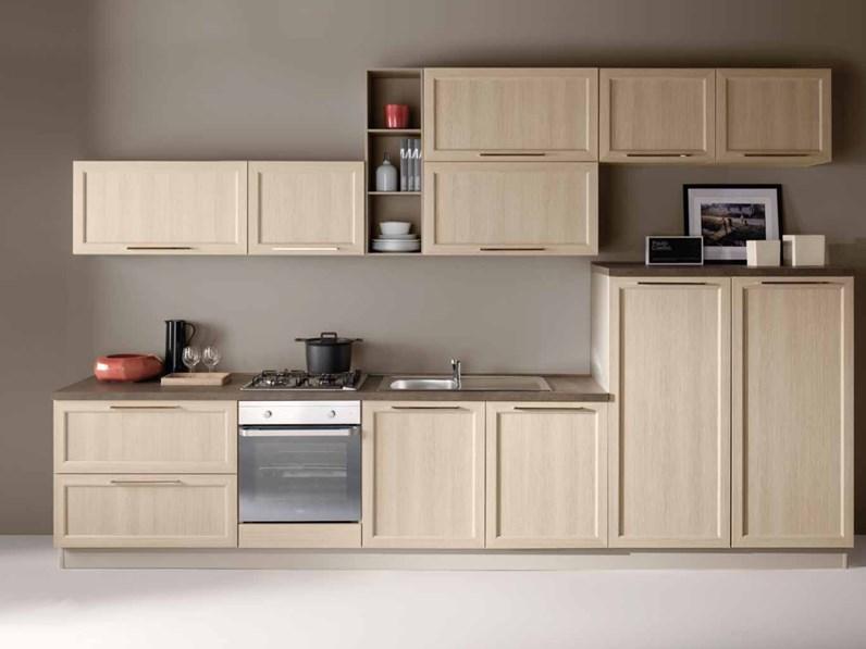 Cucina Artigianale moderna lineare rovere chiaro in laminato ...