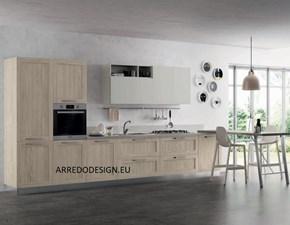 Cucina Artigianale moderna lineare rovere chiaro in melaminico Pd12 *