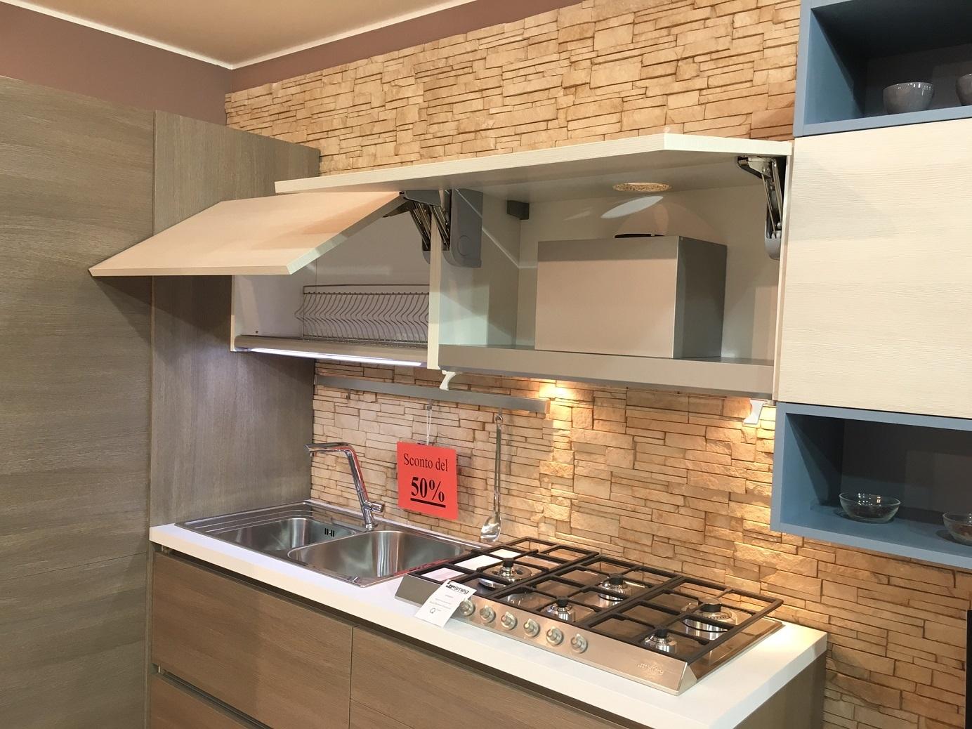 Cucina artre angolare in melaminico effetto legno cucine - Cucina laminato effetto legno ...