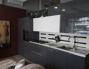 Cucina Axis cucine moderna lineare grigio in polimerico lucido Officina