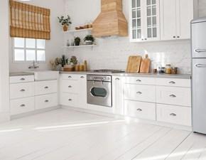 Cucina bianca classica ad angolo Mobilike denver Artigianale scontata