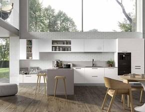 Cucina bianca design ad isola Corolla 2 Essebi cucine in Offerta Outlet