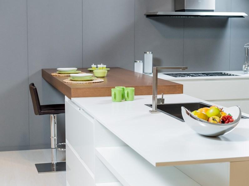 Cucina bianca design con penisola domus09 artigianale in offerta - Cucine di design in offerta ...