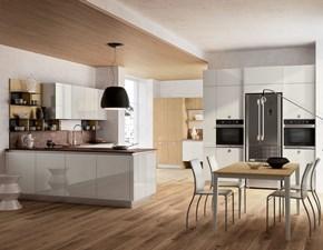 Cucina bianca design con penisola Lungomare lucida bianca Febal