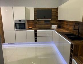 Cucina bianca moderna ad angolo Lux Artigianale in Offerta Outlet