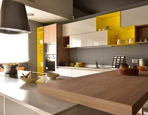 Cucina bianca moderna con penisola Aleve' aliant Stosa cucine in Offerta Outlet