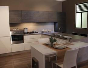 Cucina bianca moderna con penisola Arcobaleno Ar-due in Offerta Outlet