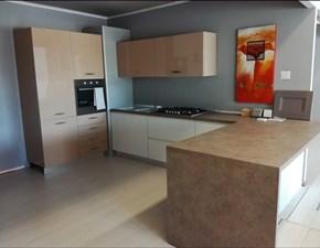 Cucina bianca moderna con penisola Arcobaleno sole Arrex