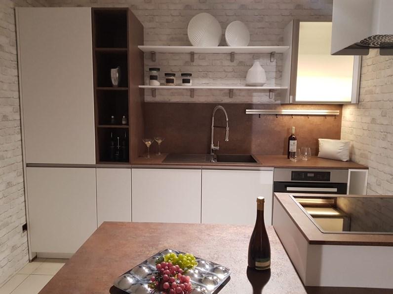 Cucina Moderna Bianca Laccata.Cucina Bianca Moderna Con Penisola Expo Laccato Opaco Life Cucine