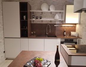 Cucina bianca moderna con penisola Expo laccato opaco Life cucine