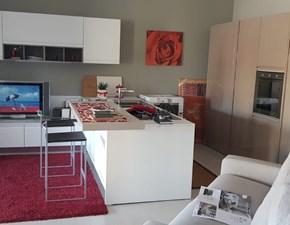 Cucina bianca moderna con penisola Lux Dibiesse