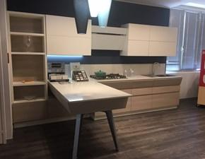 Cucina bianca moderna con penisola Motus olmo japur Scavolini