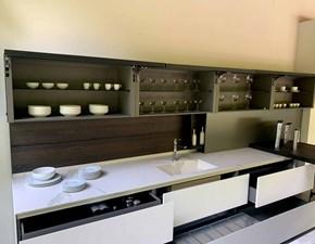 Cucina bianca moderna con penisola Twenty Modulnova