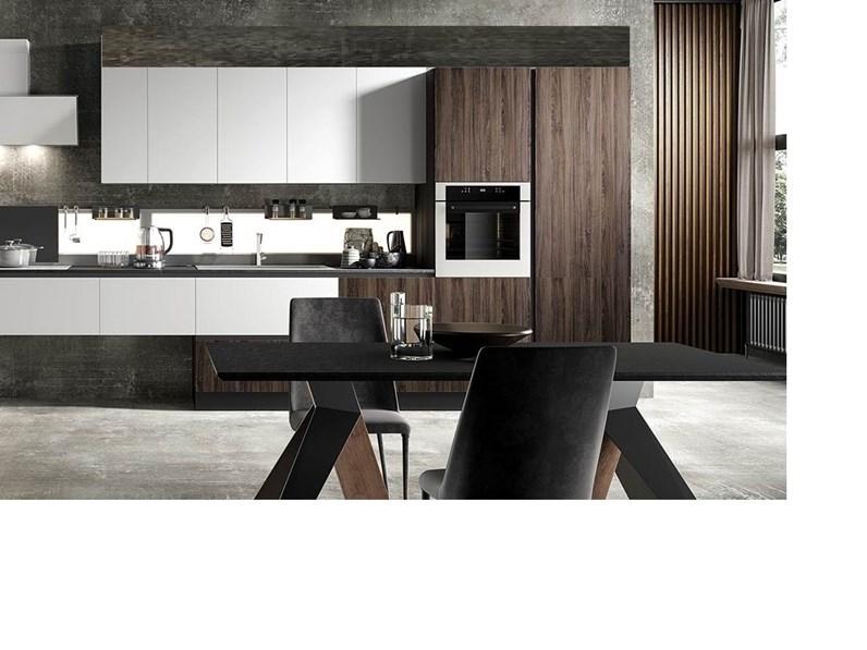 Cucina bianca moderna lineare bianca e noce dark Nuovi mondi cucine