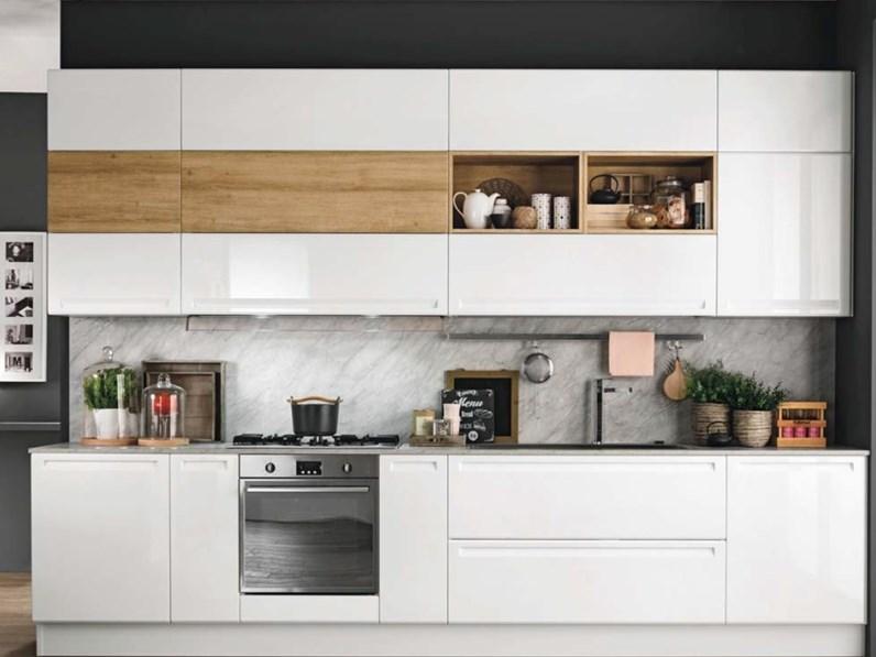 Cucina Moderna Laccata Bianca.Cucina Bianca Moderna Lineare Cucina Laccata Minimale Design In Offerta Nuovi Mondi Cucine