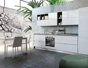 Cucina bianca moderna lineare Cucina mod.marilù laccata lucida bianca scontata del 30% S75 in Offerta Outlet