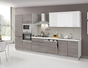 Cucina bianca moderna lineare Cucina ombra 360 cm -5  elettrodomestici Artigianale