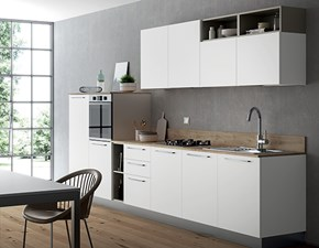 Cucina bianca moderna lineare Domino bianco e castoro Primacucine in Offerta Outlet
