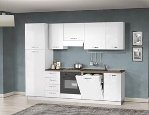 Cucina bianca moderna lineare Mery Artigianale in Offerta Outlet