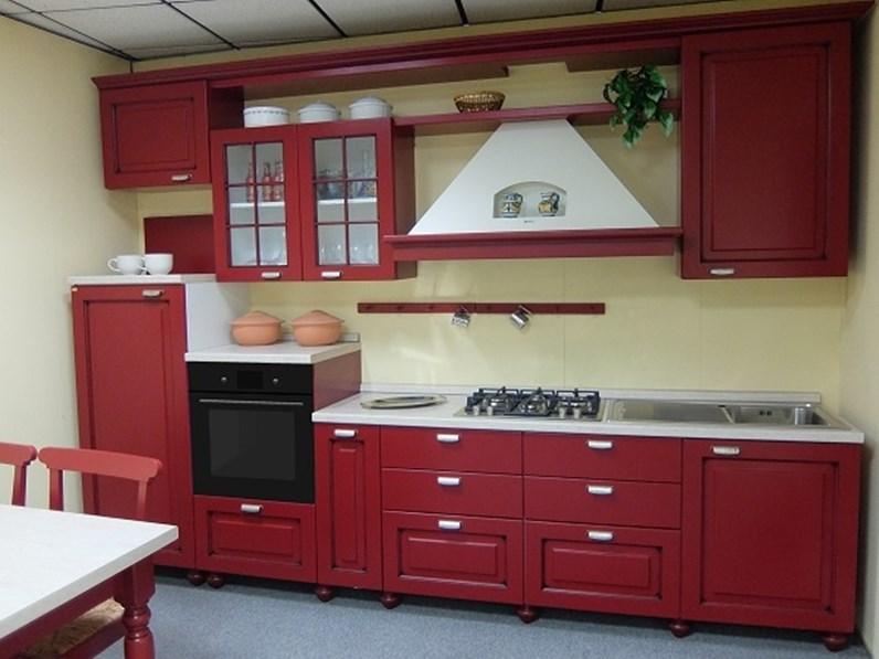 Cucina Bindi cucine country lineare rossa in legno Melarancia
